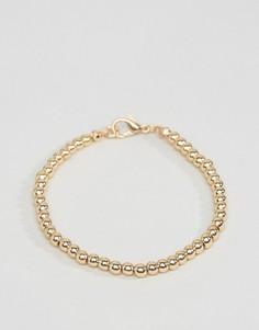 Эластичный браслет из шариковой цепочки ASOS - Золотой