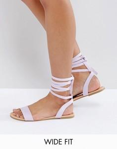 Сандалии для широкой стопы с завязками ASOS FIONA - Фиолетовый