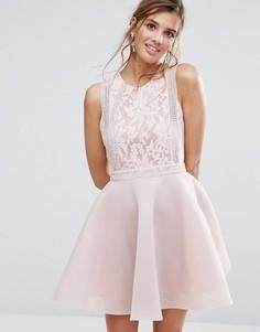Короткое приталенное платье с кружевом Liquorish - Розовый