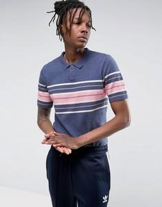 Синяя трикотажная футболка-поло из фактурной ткани ASOS - Синий
