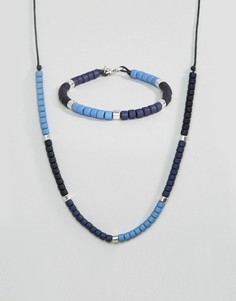 Браслет и ожерелье с бусинами в комплекте Icon Brand - Синий