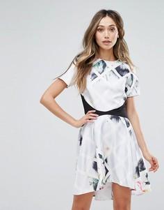 Платье с асимметричным подолом и цветочным принтом Oh My Love - Мульти