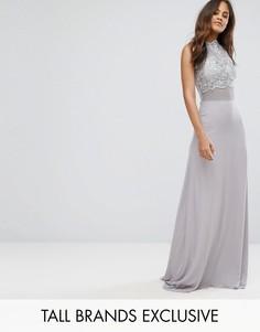 Платье макси с кружевным топом Club L Tall - Серый