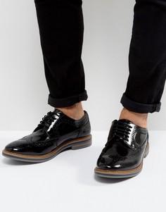 Черные кожаные броги Base London Turner - Черный