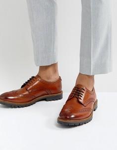 Светло-коричневые кожаные броги Base London - Рыжий