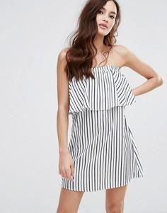 Платье-бандо в полоску Fashion Union - Белый