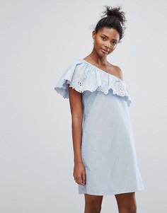 Ажурное платье на одно плечо New Look - Синий