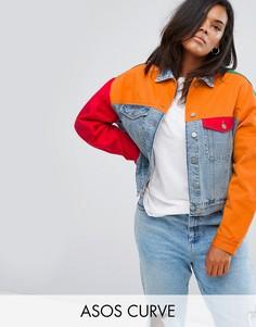 Джинсовая куртка в стиле колор блок ASOS CURVE - Мульти