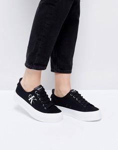 Черные парусиновые кроссовки на платформе Calvin Klein - Черный