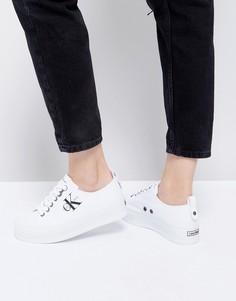 Белые парусиновые кроссовки на платформе Calvin Klein - Белый