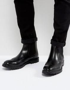 Черные кожаные ботинки на шнуровке Base London - Черный