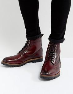Красные кожаные ботинки на шнуровке Base London Troop - Красный