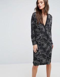 Платье с запахом и принтом Y.A.S Beany - Черный