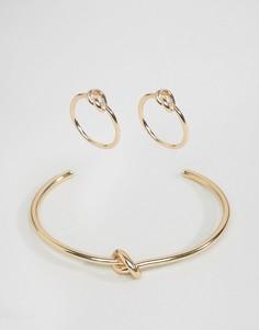 3 браслета (с узелком/в виде манжета) ASOS - Золотой