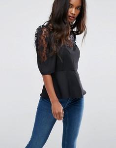 Кружевная чайная блузка с пышными рукавами ASOS - Черный