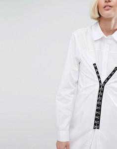 Хлопковое платье с застежкой на крючки ASOS - Белый