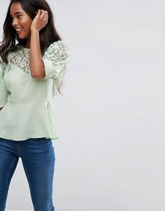 Кружевная чайная блузка с пышными рукавами ASOS - Зеленый