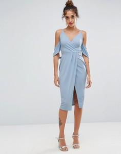 Платье миди из крепа с запахом спереди ASOS - Синий