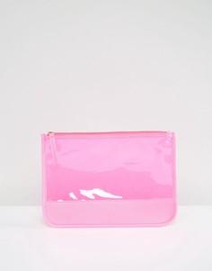Прозрачный ярко-розовый клатч South Beach - Розовый