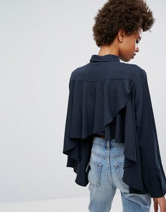Рубашка из вискозы с оборками на спине Weekday - Темно-синий
