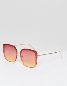 Прямоугольные солнцезащитные очки с розовой и желтой отделкой стекол AJ Morgan - Розовый