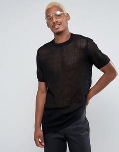 Черная сетчатая футболка удлиненного кроя ASOS - Черный