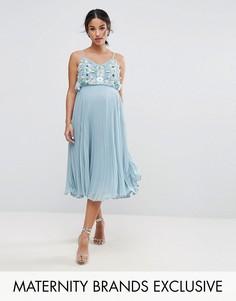 Плиссированное платье на бретелях с цветочной отделкой ASOS Maternity - Синий