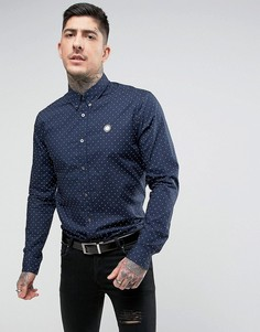 Темно-синяя рубашка в горошек Pretty Green Horlock - Темно-синий
