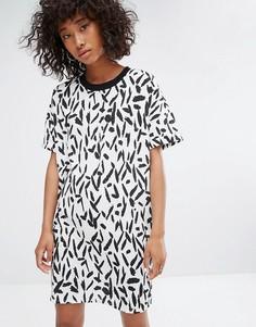 Платье с принтом и контрастным вырезом Noisy May - Мульти