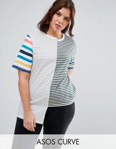 Свободная футболка в полоску ASOS CURVE - Мульти