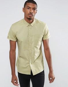 Повседневная облегающая оксфордская рубашка из эластичной ткани ASOS - Зеленый