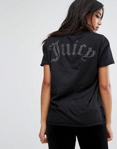 Футболка с асимметричным краем и логотипом на спине Juicy Couture - Черный