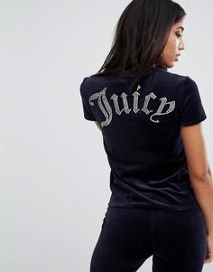 Футболка с логотипом в готическом стиле Juicy Couture - Темно-синий