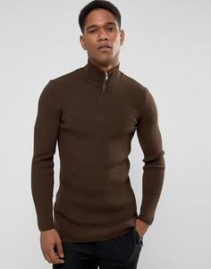 Длинный коричневый джемпер в рубчик с молнией ASOS - Коричневый