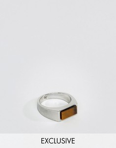 Кольцо-печатка с камнем тигровый глаз Aetherston - Серебряный