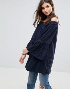 Блузка в богемном стиле Vila - Темно-синий
