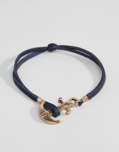 Темно-синий кожаный браслет с якорем Icon Brand - Темно-синий