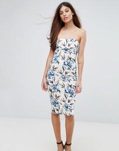 Платье-бандо миди с цветочным принтом Ax Paris - Кремовый