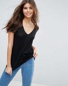 Легкая футболка с V-образным вырезом ASOS - Черный