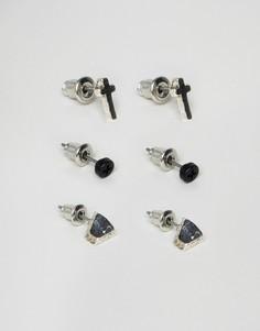 3 пары серебристых серег-гвоздиков Icon Brand - Серебряный