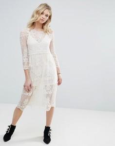 Сетчатое платье миди с вышивкой и съемной подкладкой Chandelier - Кремовый