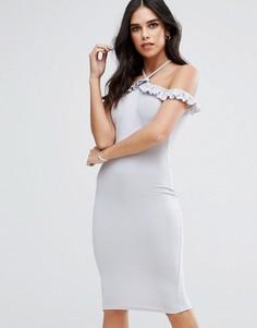 Платье миди с открытыми плечами и оборками AX Paris - Серый