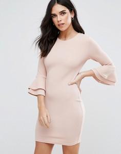 Платье мини с рукавами клеш AX Paris - Розовый