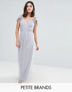 Платье макси с открытыми плечами и отделкой Little Mistress Petite - Серый