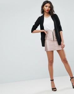 Мини-юбка цвета металлик с молнией ASOS - Розовый