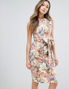 Платье-футляр миди с цветочным принтом в винтажном стиле Vesper - Розовый