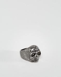 Кольцо цвета пушечной бронзы с черепом Rebel Heritage - Серебряный