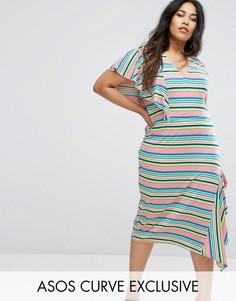 Чайное платье в яркую полоску ASOS CURVE - Мульти