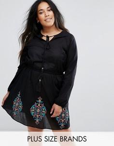Короткое приталенное платье с вышивкой Diya - Черный
