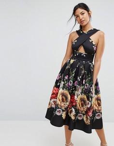 Платье миди для выпускного с перекрестом и цветочным принтом ASOS - Мульти